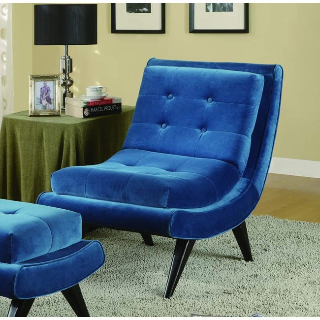 Overstock.com Armless Cerulean Blue Fabric Swayback Lounge Chair