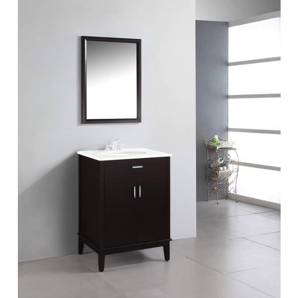 WYNDENHALL Oxford Dark Espresso Brown 24-inch Bath Vanity with 2 Doors and White Quartz Marble Top