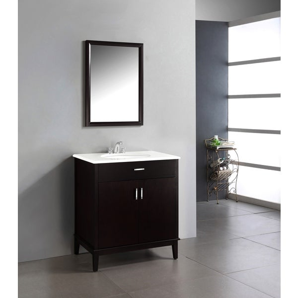 WYNDENHALL Oxford Dark Espresso Brown 30-inch Bath Vanity with 2 Doors and White Quartz Marble Top