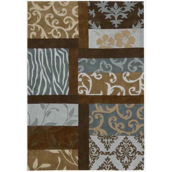 "Modern Nourison Hand-Tufted Contours Multicolor Rug (5' x 7'6"")"