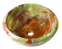 Round Green Brown Onyx Stone Vessel with Tapered Rim