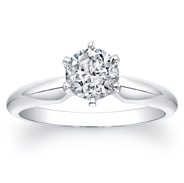 Victoria Kay 14k White Gold Certified 1ct TDW 6-Prong Diamond Engagement Solitaire Ring (F-G, I1-I2)