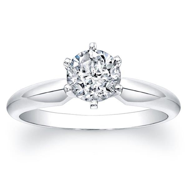 14k White Gold 1ct TDW Certified Diamond Engagement Solitaire Ring (I-J, I1-I2)