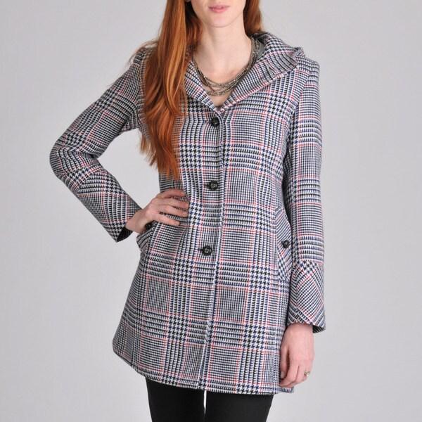Tommy Hilfiger Women's Tweed Hooded Duffle Coat