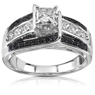 Annello  14k White Gold 1ct TDW Black and White Diamond Ring (H-I, I1-I2)