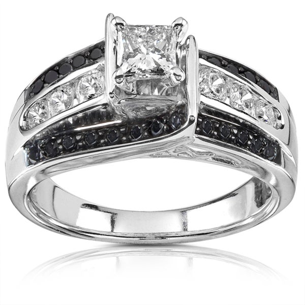 Annello 14k White Gold 7/8ct TDW Black and White Diamond Ring (H-I, I1-I2)