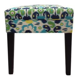 Sole Designs Blue Flora Tufted Bench