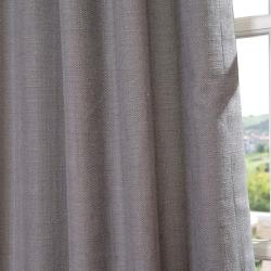 Weathered Grey Linen Blend Grommet Curtain Panel
