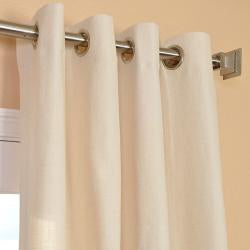 Exclusive Fabrics Cream Linen Blend Grommet Curtain Panel