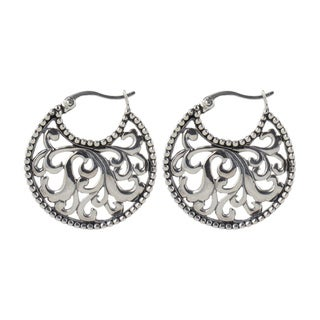 Sunstone Sterling Silver Bali Filigree Antiqued Round Hoop Earrings