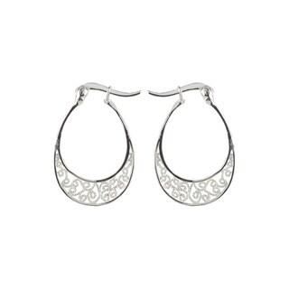 Sunstone Sterling Silver Fine Filigree Hoop Earrings