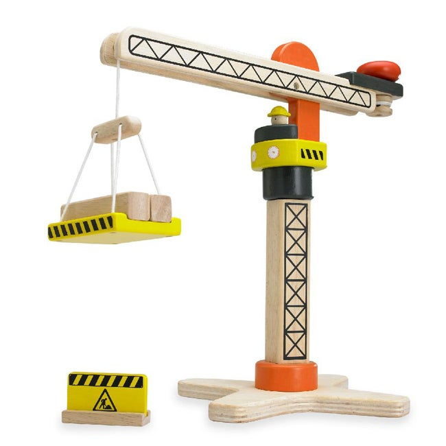Wonderworld Toys Yellow Mini Wooden Working Tower Crane with Two Logs at Sears.com