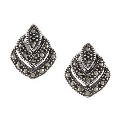 Glitzy Rocks Sterling Silver Marcasite Stud Earrings