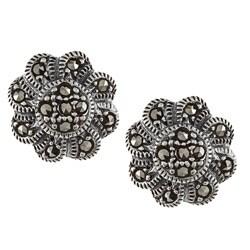 Glitzy Rocks Sterling Silver Marcasite Flower Stud Earrings