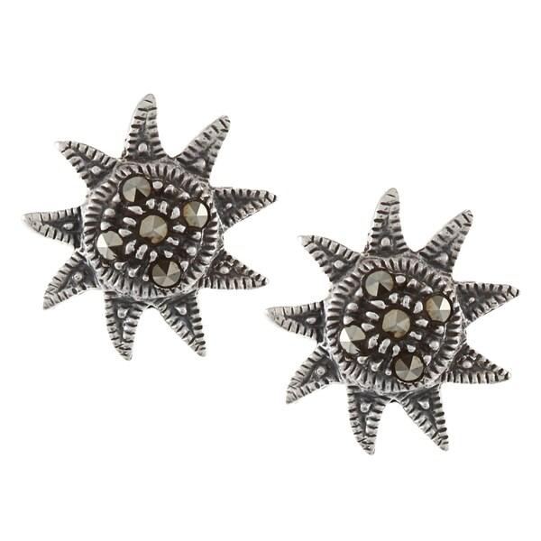 Glitzy Rocks Sterling Silver Marcasite Sun Stud Earrings