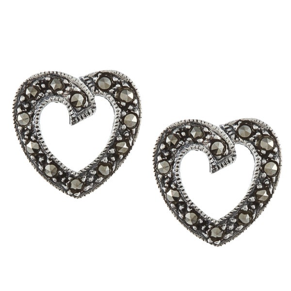 Glitzy Rocks Sterling Silver Marcasite Open Heart Stud Earrings