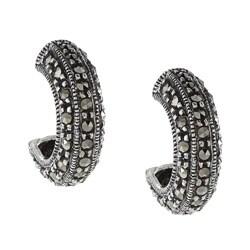 Glitzy Rocks Sterling Silver Marcasite Open Hoop Earrings