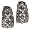Glitzy Rocks Sterling Silver Marcasite Cut-out Open Hoop Earrings