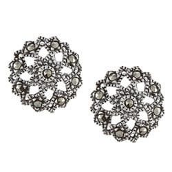 Glitzy Rocks Sterling Silver Marcasite Star Stud Earrings