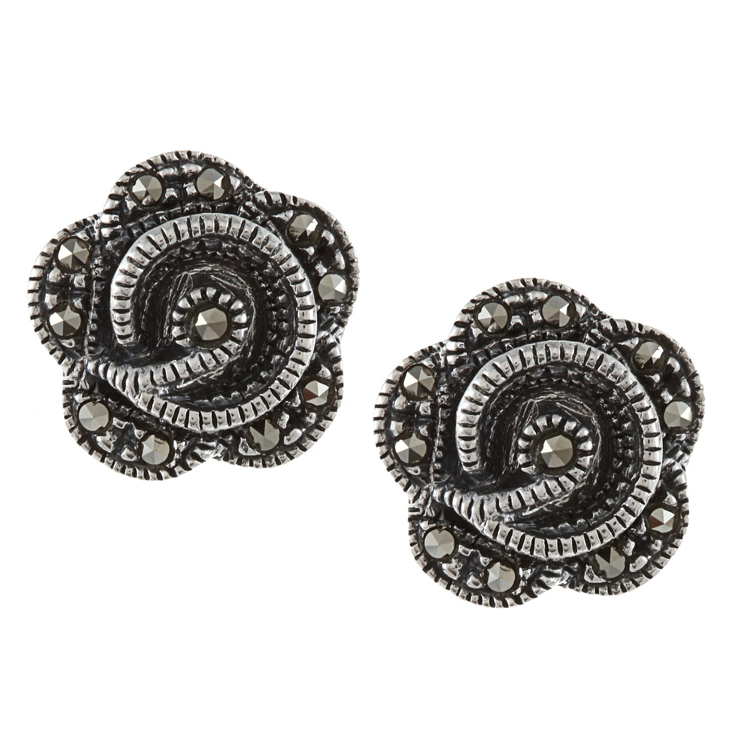 Glitzy Rocks Sterling Silver Marcasite Flower Stud Earrings at Sears.com