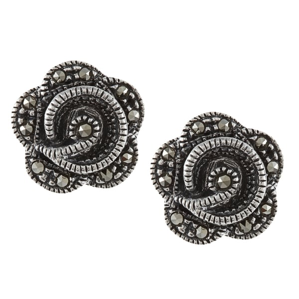 Glitzy Rocks Sterling Silver Marcasite Flower Stud Earrings