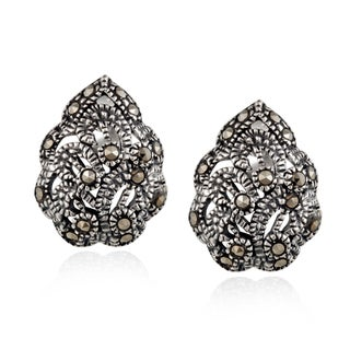 Glitzy Rocks Sterling Silver Marcasite Floral Filigree Stud Earrings