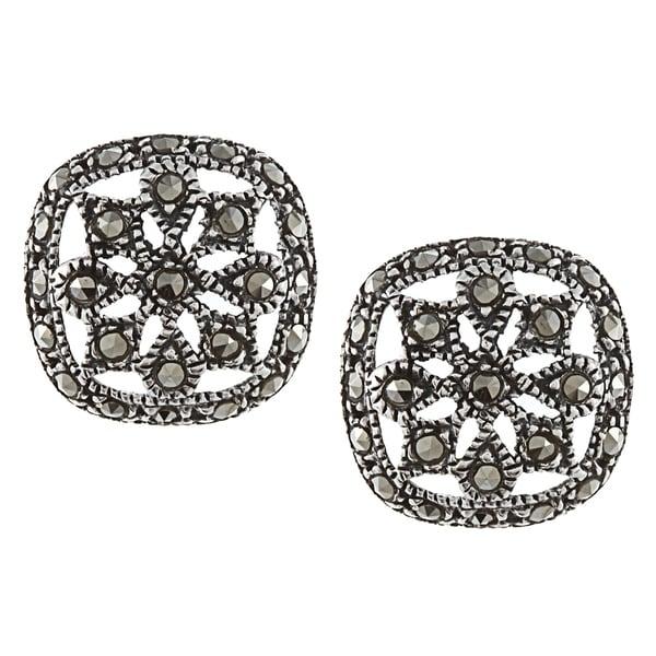 Glitzy Rocks Sterling Silver Marcasite Square Filigree Stud Earrings