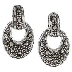 Glitzy Rocks Sterling Silver Marcasite Oval Drop Dangle Earrings