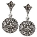 Glitzy Rocks Sterling Silver Marcasite Circle Drop Dangle Earrings