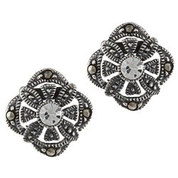 Glitzy Rocks Sterling Silver Marcasite and Cubic Zirconia Square Flower Earrings