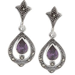 Glitzy Rocks Silver Marcasite and Purple Cubic Zirconia Dangle Earrings
