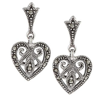 Glitzy Rocks Sterling Silver Marcasite Heart Drop Dangle Earrings