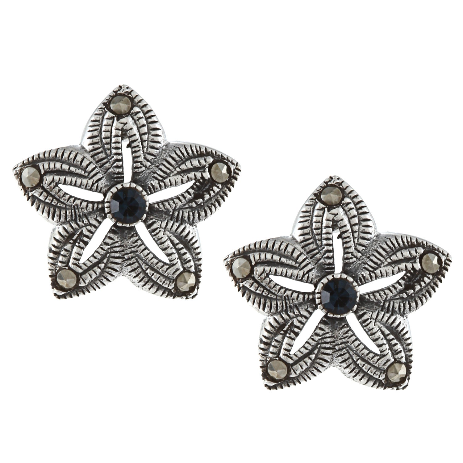 Glitzy Rocks Sterling Silver Marcasite and Blue Cubic Zirconia Flower Stud Earrings at Sears.com