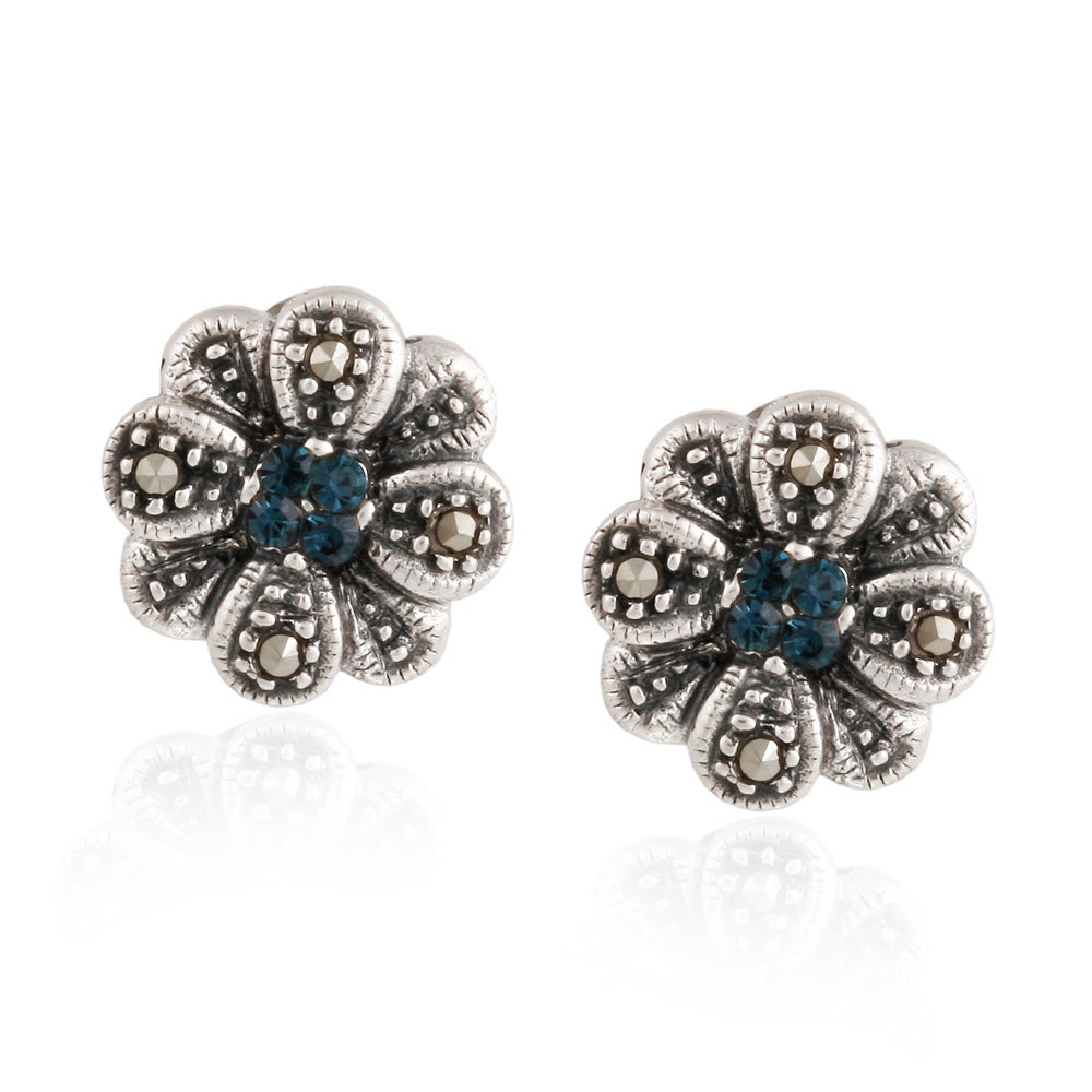 Glitzy Rocks Silver Marcasite and Blue Cubic Zirconia Flower Stud Earrings at Sears.com
