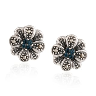 Glitzy Rocks Silver Marcasite and Blue Cubic Zirconia Flower Stud Earrings