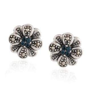Glitzy Rocks Silver Marcasite and Blue Cubic Zirconia Flower Stud Earrings
