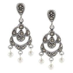 Glitzy Rocks Sterling Silver Marcasite and Faux Pearl Dangle Earrings