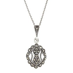 Glitzy Rocks Sterling Silver Marcasite Antique Necklace