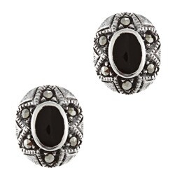 Glitzy Rocks Sterling Silver Marcasite and Onyx Oval Stud Earrings