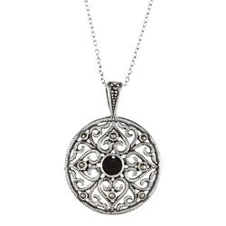 Glitzy Rocks Sterling Silver Marcasite And Black Onyx Filigree Circle Necklace