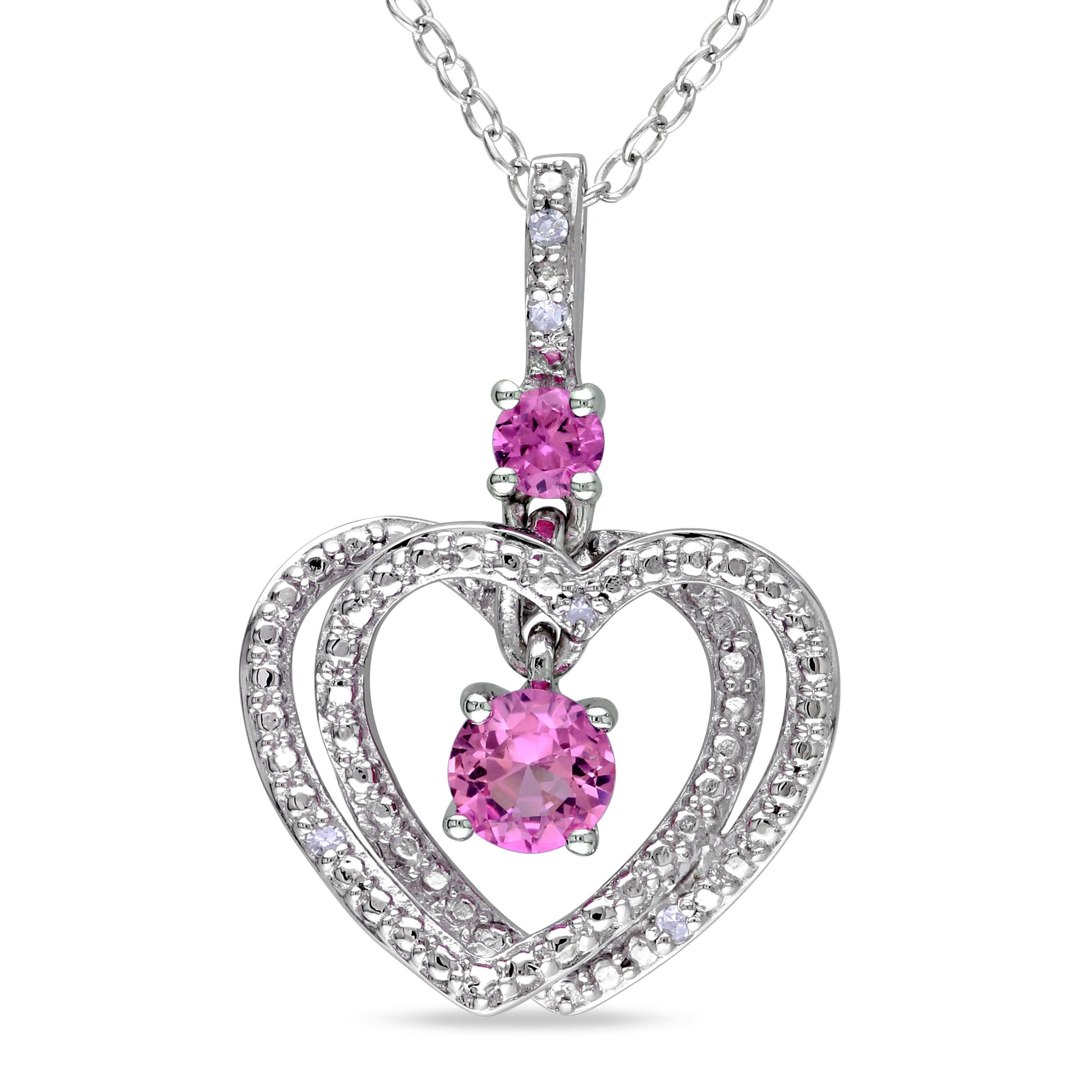 M by Miadora Sterling Silver Pink Sapphire and Diamond Heart Necklace (G-H, I1-I2)