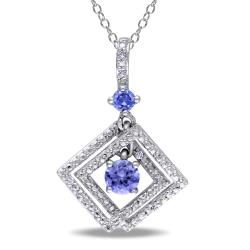 Miadora Sterling Silver Tanzanite and Diamond Accent Necklace (G-H, I1-I2)
