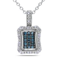 Miadora Sterling Silver 1/4ct TDW Blue and White Diamond Necklace (G-H, I1-I2)