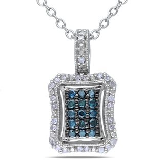 Haylee Jewels Sterling Silver 1/4ct TDW Blue and White Diamond Necklace (G-H, I1-I2)