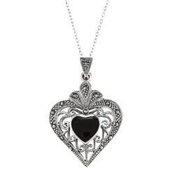Glitzy Rocks Sterling Silver Marcasite and Black Onyx Filigree Heart Necklace