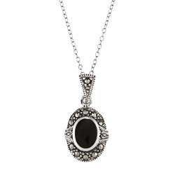 Glitzy Rocks Sterling Silver Marcasite and Black Onyx Oval Necklace