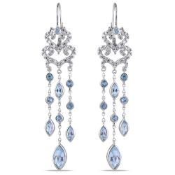 Miadora Sterling Silver Blue Topaz and 1/4ct TDW Diamond Dangle Earrings (H-I, I2-I3)