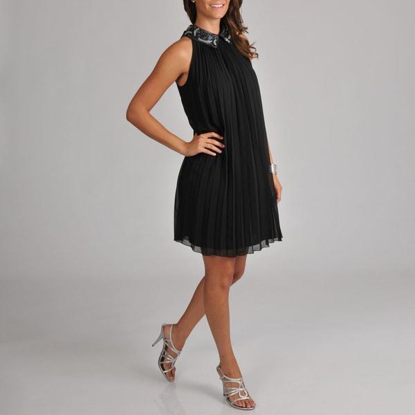 S.L. Fashions Women's Chiffon Beaded Collar Pleated Trapeze Dress