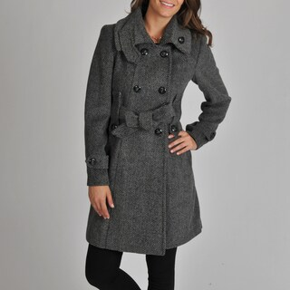 Ivanka Trump Women's D/B Wool Blend Herringbone Coat with Tab Collar