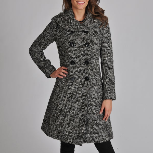 Ivanka Trump Women's Herringbone Wool Blend Coat with Shawl Collar